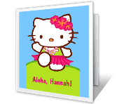 Happy Hula Birthday printable card
