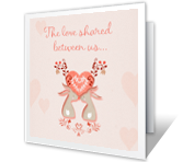 Hoppy in Love printable card