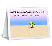 Hot Chick on Beach greeting card