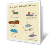 How Cats Celebrate Birthdays printable card
