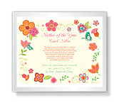 Mother of the Year Award certificate