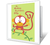 No Monkey Business printable card