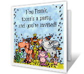 Party Animals printable card