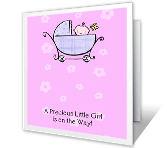 Shower for Baby Girl printable card