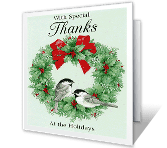 Special Holiday Thanks printable card