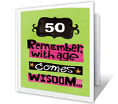 With Age Comes Wisdom printable card