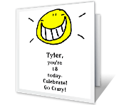 You're 18 Today! printable card