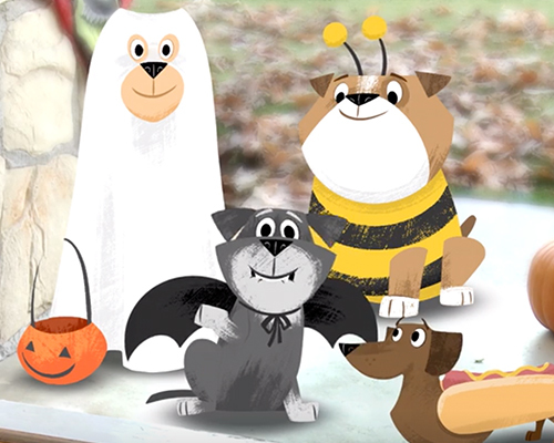 trick or treating dogs singing song