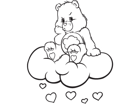 Cheer Up Grumpy Care Bears Activity Bear On A Cloud Coloring Sheet
