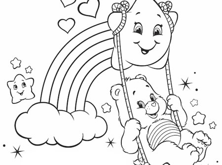 Have A Rainbow Day Care Bears Activity Cheer Bear On Cloud Coloring Page