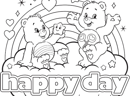 Happy day care bears coloring page ag kidzone for Care bears coloring pages