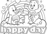 Happy Day Care Bears Coloring Pages