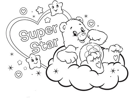 Super Star Care Bears Coloring Page
