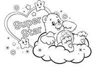 Super Star Care Bears Coloring Pages