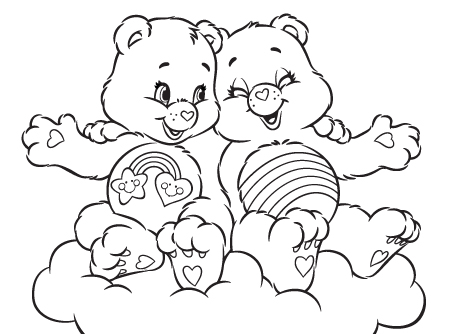 Bffs care bears activity cheer and best friend bear coloring page