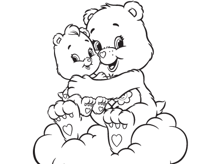 A Friend Indeed Care Bears Activity Wonderheart And Bear Coloring Page