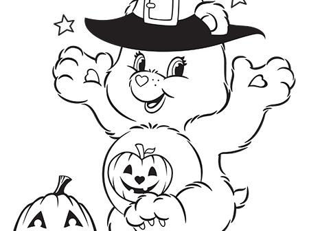Happy Halloween Care Bears Coloring Page | AG Kidzone