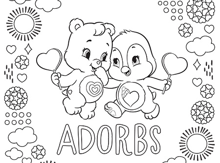 Adorable Cozy and Wonderheart Care Bears Coloring Page | AG Kidzone