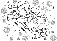 Let's Go Sledding! Care Bears Coloring Pages