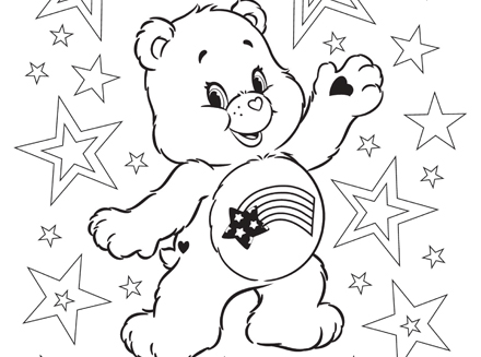 Meet America Cares Bear Care Bears Coloring Page AG Kidzone