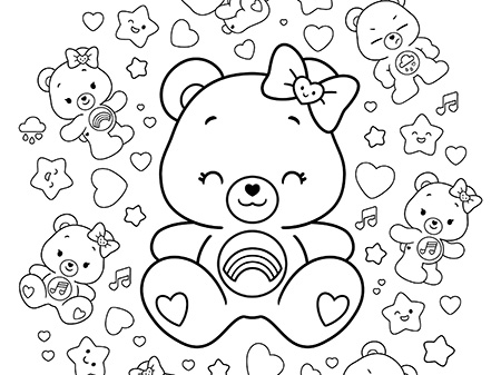 Hot Topic Coloring Sheet Care Bears Activity