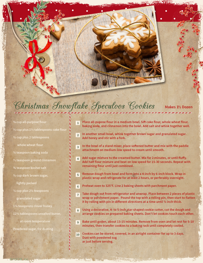 Christmas Cookie Recipe Cards Speculoos Snowflake And Snowball Cookies