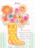 Rain Boot Flowers 5x7 Folded Card