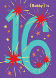 Firecracker 16th Birthday 5x7 Folded Card