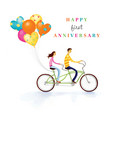 Bicycle for Two Anniversary 5x7 Folded Card
