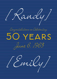 50 Year Bold Blue 5x7 Folded Card
