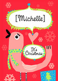 Pink Bird Christmas 5x7 Folded Card