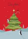 Christmas Tree Penguins 5x7 Folded Card
