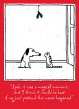 Dog and Cat Mistletoe 5x7 Folded Card