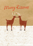 Merry Kissmass Reindeer 5x7 Folded Card