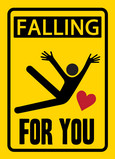 Caution Valentines Falling 5x7 Folded Card