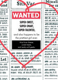 Wanted Valentines Ad 5x7 Folded Card