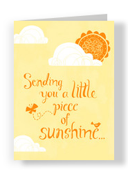 Orange Little Sunshine 5x7 Folded Card