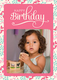 Pink Birthday Script 5x7 Folded Card