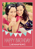 Pink Birthday Flags 5x7 Folded Card