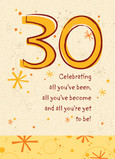 Yellow Thirty Celebrate 5x7 Folded Card