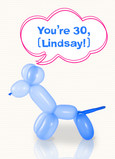 Balloon Animal Thirty 5x7 Folded Card