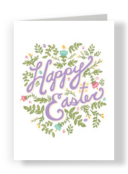 Purple Happy Easter 5x7 Folded Card