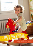 Yellow Birthday Banner 5x7 Folded Card