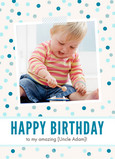 Blue Birthday Dots 5x7 Folded Card