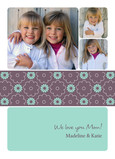 Teal Floral Band Mom 5x7 Folded Card