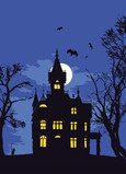 Haunted House Silhouette 5x7 Folded Card