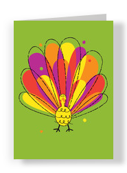 Colorful Thanksgiving Turkey 5x7 Folded Card