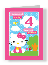 Pink Border Hello Kitty 5x7 Folded Card