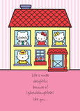 Hello Kitty House 5x7 Folded Card