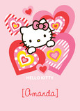 Pink Heart Hello Kitty 5x7 Folded Card